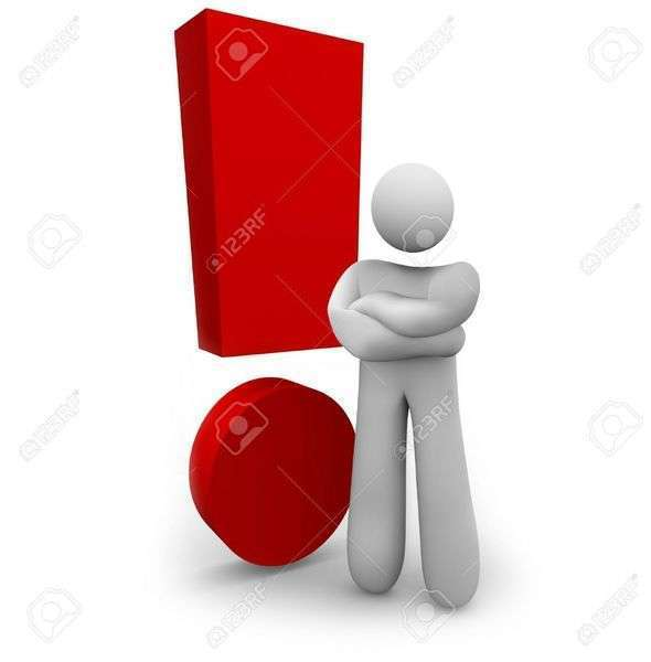 4864431 a person stands angrily beside a red exclamation mark stock photo 1